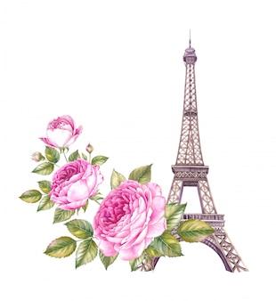 夏のパリのイラスト。