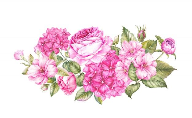 分離された春の花の花束