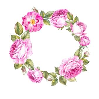 春のバラの花輪。