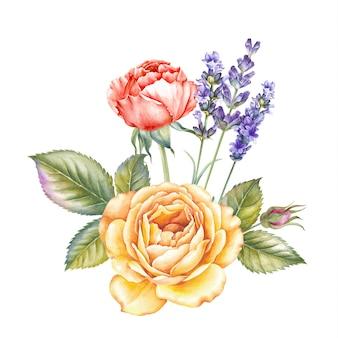 バラの花の花束。