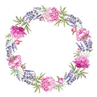 ラベンダーガーランドリース丸みを帯びた花のフレーム