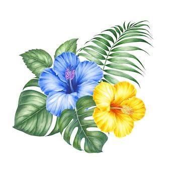 Тропические цветы и пальмы.