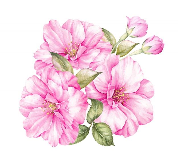 Букет вишневых цветов