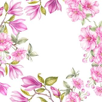Цветут цветы магнолии и японской вишни.