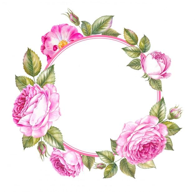 結婚式のための春のピンクのバラフレーム