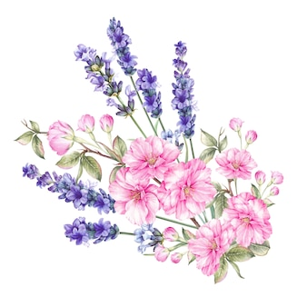 Цветут букеты цветов.