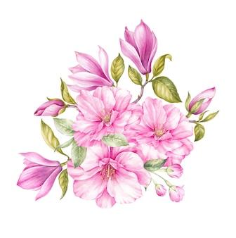 Букет из цветущих цветов сакуры.