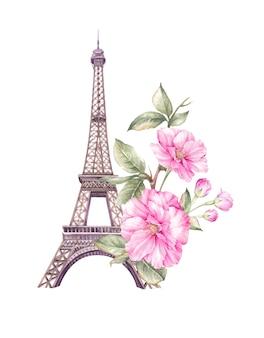 春のパリのイラスト。