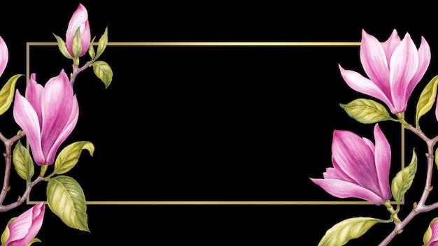Акварельная живопись магнолия цветущий цветок.