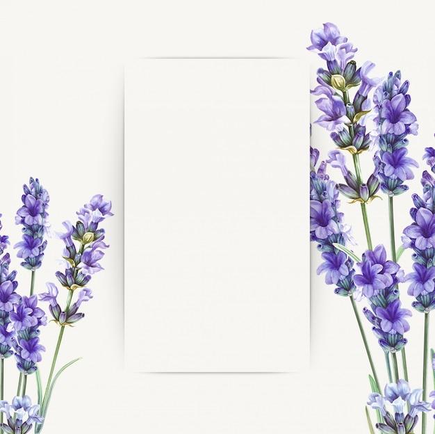 グリーティングカードデザインのラベンダーの花の花束。