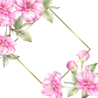 Свадебная открытка с цветами сакуры.