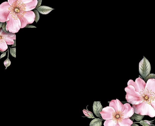 ピンクの桜の花の結婚式の招待カード。