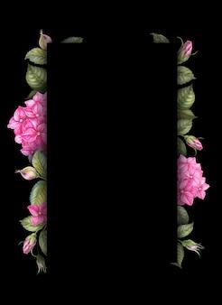 黒地にピンクのアジサイの花