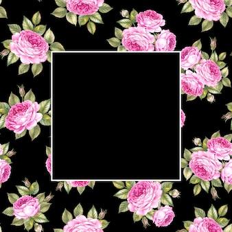 Безшовная картина розы цветет букет над черным и пустым прямоугольником в центре.