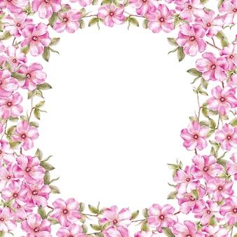 ピンクの桜の花のフレームの背景。