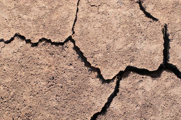 Текстура сухой засушливой коричневой земли с трещинами.