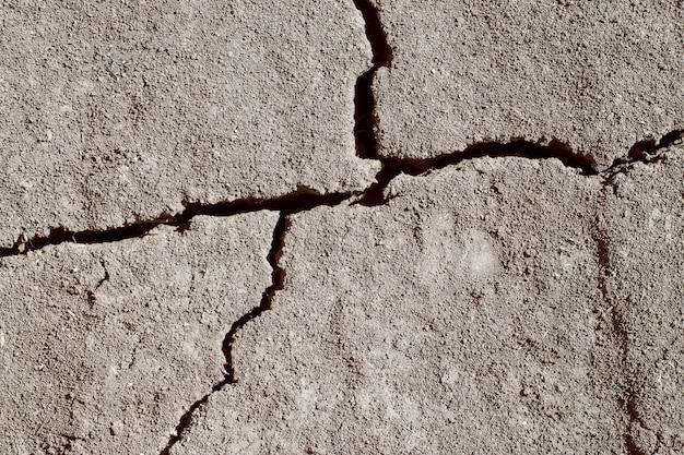 地面に大きな亀裂。乾燥した地球の背景。概念。