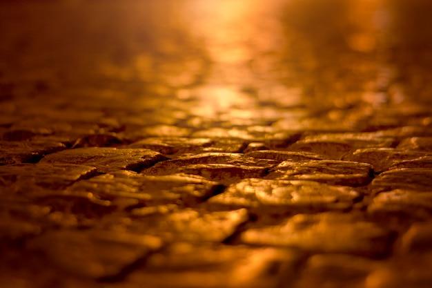 夜のクローズアップで石畳の通り