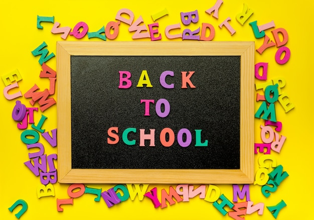 黒板に学校テキストカラフルな文字に戻る