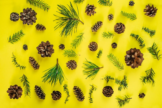 Рождественская композиция. хвойные ветви деревьев и огонь конуса на желтом. рождество, зима. плоская планировка, вид сверху