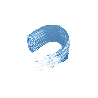 孤立した白地に青いアクリル絵の具の汚れ