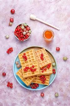 ビワフルーツと蜂蜜の正方形のベルギーワッフル