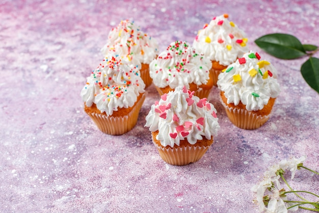 様々な振りかける美味しい自家製カップケーキ