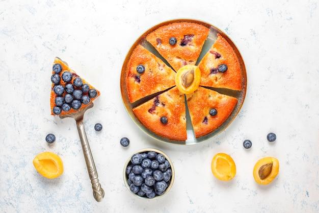 Абрикосовый и черничный пирог со свежей черникой и абрикосовыми фруктами.