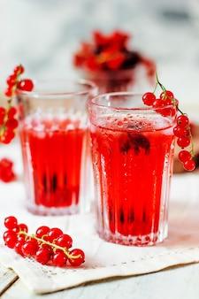 Холодный ягодный напиток из красной смородины