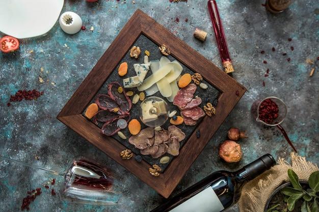 チーズの盛り合わせ、軽食、トップビュー