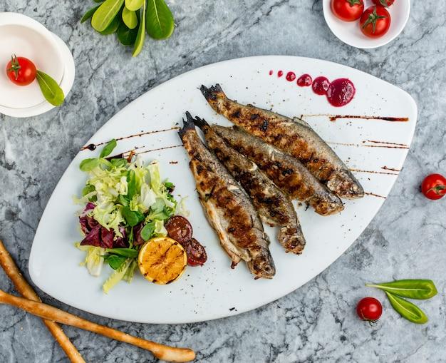 野菜のサラダとオレンジの魚のグリル。