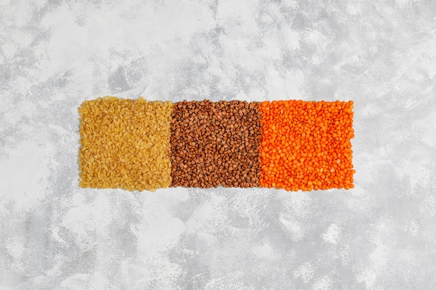 ビーガンやベジタリアン向けのスーパーフード、種子、穀物。きれいな食事