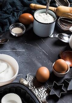 調理枠のための準備ベーキングキッチン食材