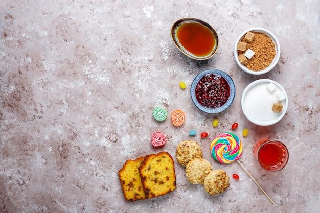ライトテーブルの単純な炭水化物食品の品揃え