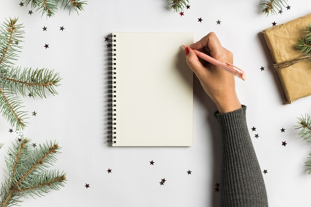 目標計画は、新年のクリスマスコンセプトライティングのためのリストをする夢を作る