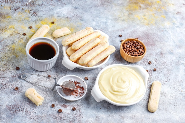 Ингредиенты для приготовления десерта тирамису, вид сверху с копией пространства.