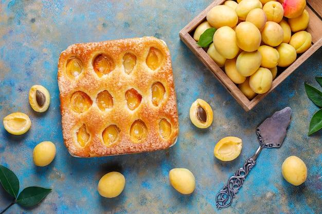 Летний абрикосовый пирог домашний вкусный фруктовый десерт