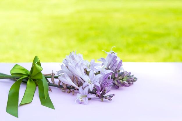 サテンリボンと美しい新鮮な花の枝