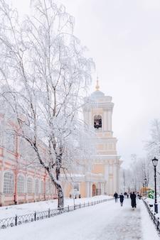 アレクサンドルネフスキー大修道院と凍るような雪の冬の日、サンクトペテルブルク、ロシアの修道院