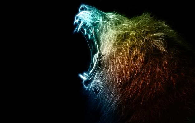 ライオンのデジタルイラストレーションと操作