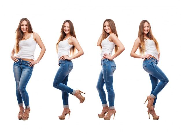 種々の姿勢で若い女性