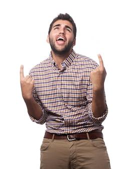 Человек с указательным пальцем вверх