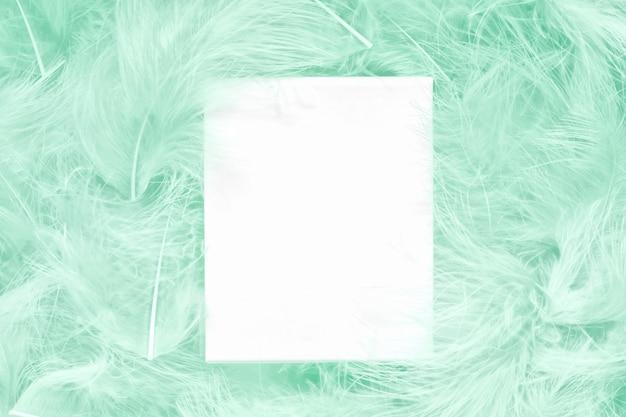 創造的な魅力のレイアウトは、白いカードでアクアマリンの羽を作った