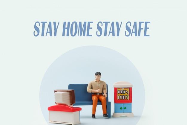自己検疫、ウイルスからの保護で家にいる男