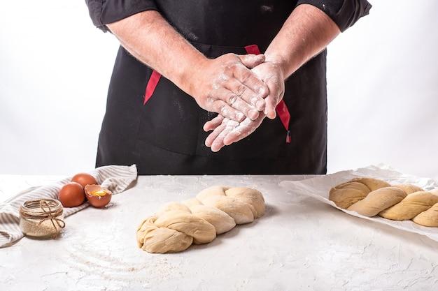 Национальный израиль плетеная хала тесто для хлеба. шаббат шалом