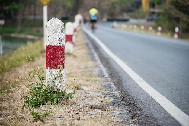 地元の道路の近くにマイルストーン