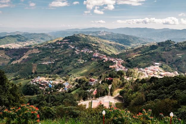 山とタイの青い空の村