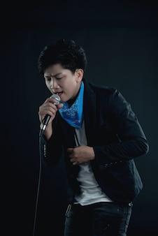 ハンサムな魅力的な歌手の肖像画