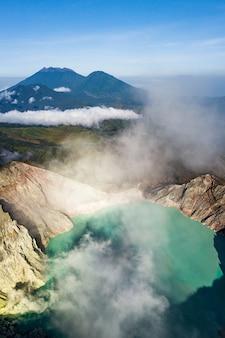 火山のある山岳風景