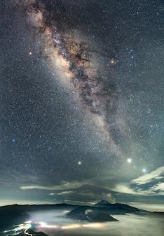 夜の山の風景と天の川銀河